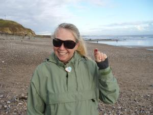 Denise finds her first multi colored sea glass piece in