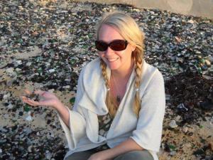 Denise beachcombing for treasures