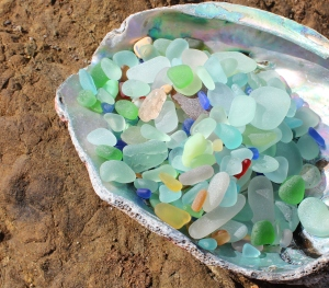 Jane's collection of sea glass displayed beautifully in an abalone shell