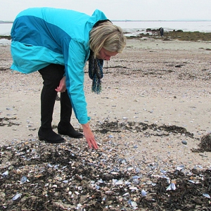 Jane searching for Sea Glass Galway, Ireland