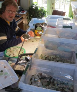 Steve sorting sea glass for projects