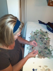 Tammy sorting sea glass
