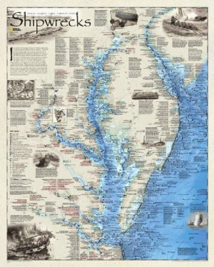 Shipwrecks of Delmarva - art work by Robert Pratt, cartographer & research of the shipwreck locations with names & dates of sinking by Don Shomette. Of the 10,000 to 12,000 wrecks believed to lie on the sea floor, this is a one of a kind comprehensive representation.