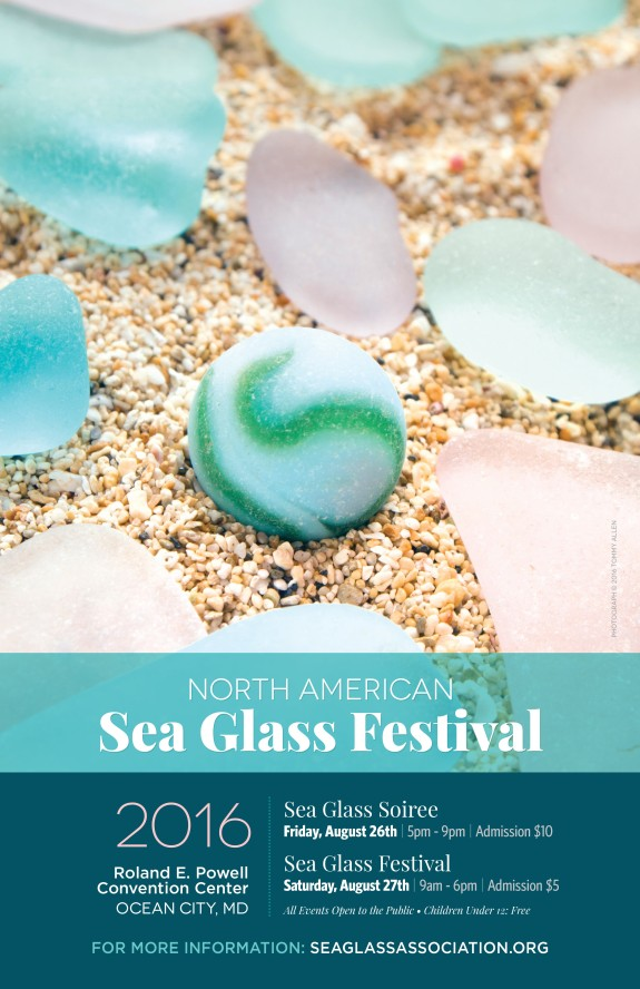 North American Sea Glass Association Sea Glass Festival Poster, August 26 and 27, 2016