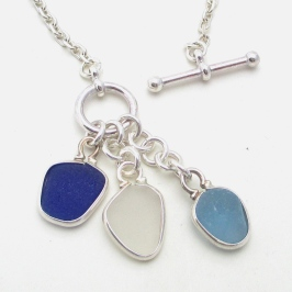 3 Blue and White 3 Piece Sea Glass Necklace